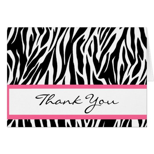 Black and White Zebra Thank You Card