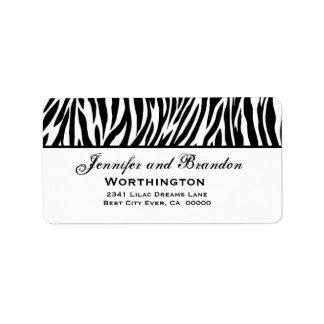 Black and White Zebra Wedding Address Address Label