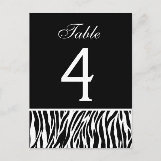 Black and White Zebra Wedding Table Number Card postcard
