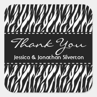 Black and White Zebra Wedding Thank You V07 Square Sticker