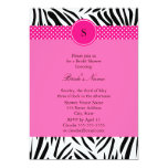 Black and White Zebra with Hot Pink Bridal Shower 5x7 Paper Invitation Card