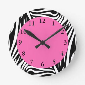 Black and White Zebra with Hot Pink Round Clock