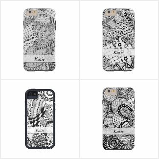 Black and White Zendoodle Personalized Phone Cases
