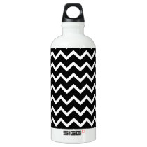 Black and White Zig Zag Pattern. Aluminum Water Bottle