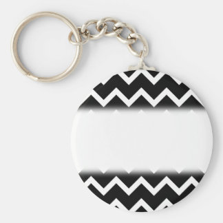 Black and White Zig Zag Pattern. Basic Round Button Keychain