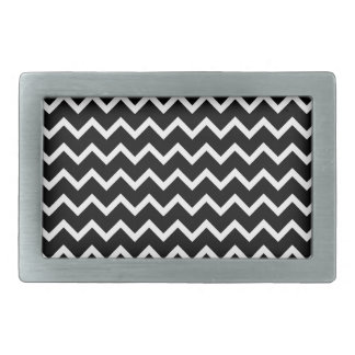 Black and White Zig Zag Pattern. Belt Buckle
