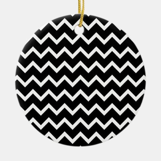 Black and White Zig Zag Pattern. Ceramic Ornament