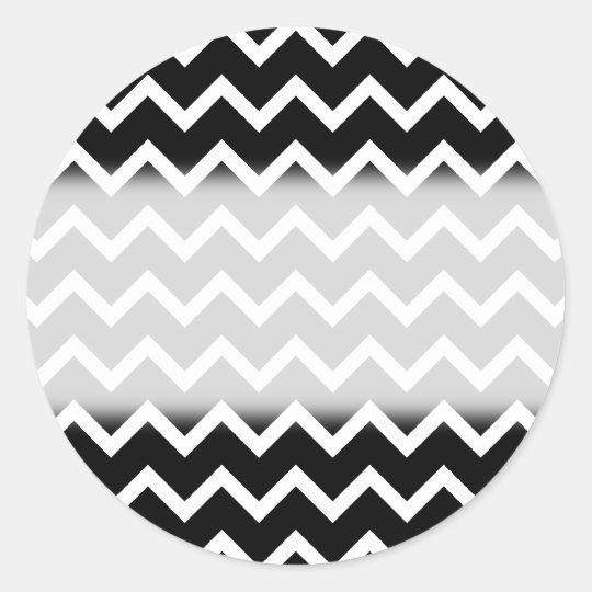Black and White Zig Zag Pattern. Classic Round Sticker