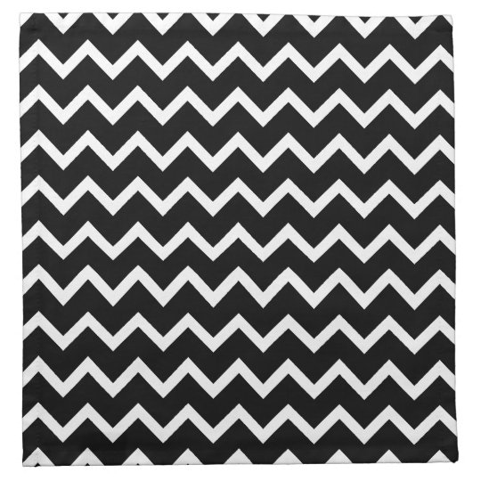 Black and White Zig Zag Pattern. Cloth Napkin