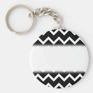 Black and White Zig Zag Pattern. Keychain