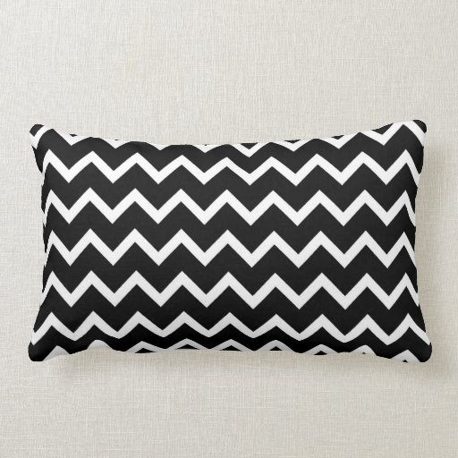 black and white zig zag pattern lumbar pillow zazzle. Black Bedroom Furniture Sets. Home Design Ideas