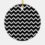Black and White Zig Zag Pattern. Christmas Ornament