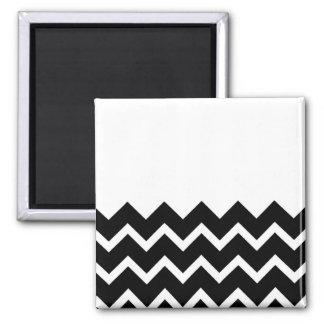 Black and White Zig Zag Pattern. Part Plain. 2 Inch Square Magnet