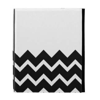 Black and White Zig Zag Pattern. Part Plain. iPad Case