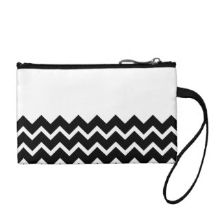 Black and White Zig Zag Pattern. Part Plain. Coin Purse