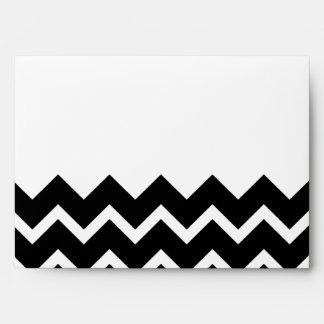 Black and White Zig Zag Pattern. Part Plain. Envelope