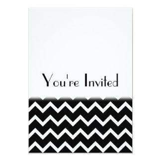 Black and White Zig Zag Pattern. Part Plain. Invitation