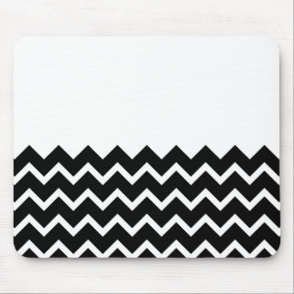 Black and White Zig Zag Pattern. Part Plain. Mouse Pad