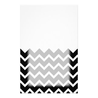 Black and White Zig Zag Pattern. Part Plain. Stationery Paper