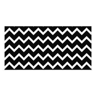 Black and White Zig Zag Pattern. Photo Card