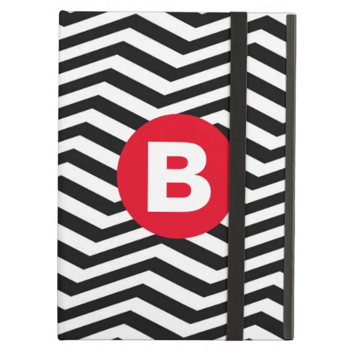 Black and White Zig Zag Pattern Red Monogram Case For iPad Air