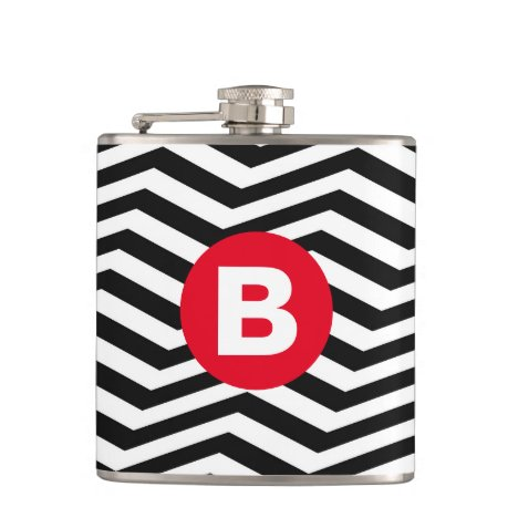 Black and White Zig Zag Pattern Red Monogram Flask