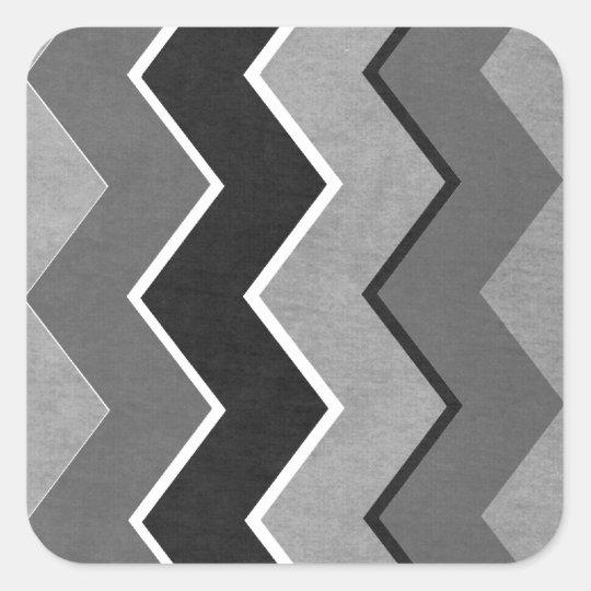 Black and White Zig Zag Pattern Square Sticker