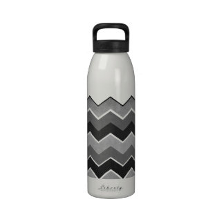 Black and White Zig Zag Pattern Reusable Water Bottles