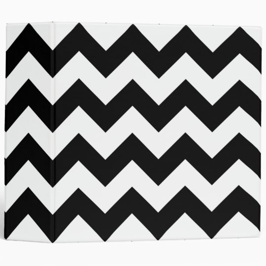 Black and White Zigzag 3 Ring Binder