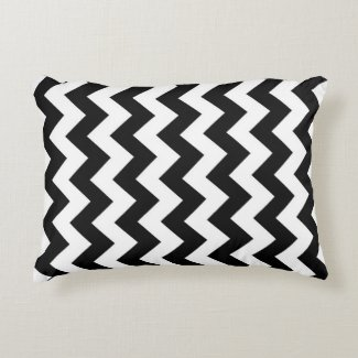 Black and White Zigzag Accent Pillow