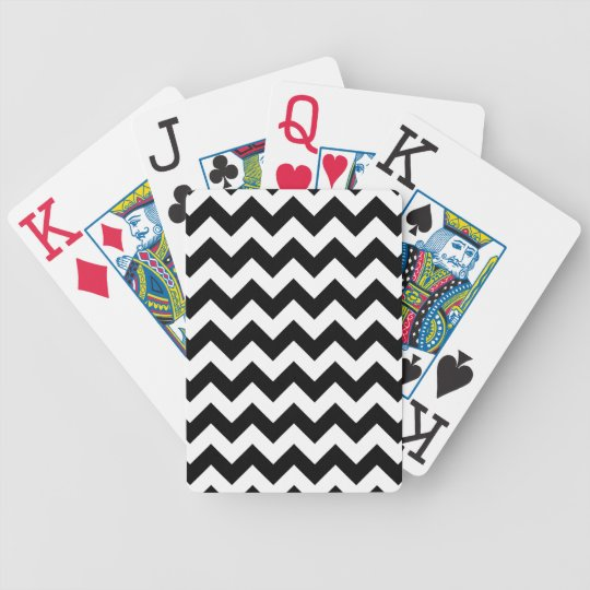 Black and White Zigzag Bicycle Playing Cards