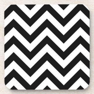 Black and white Zigzag Chevron Pattern Beverage Coaster