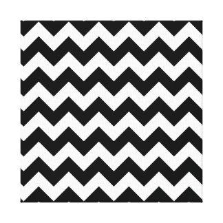 Black and White Zigzag Chevron Pattern Canvas Print