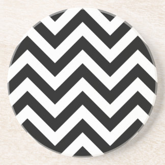 Black and white Zigzag Chevron Pattern Drink Coaster