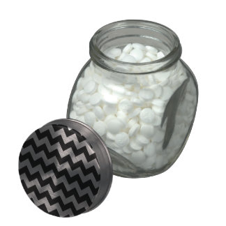 Black and White Zigzag Chevron Pattern Jelly Belly Candy Jars