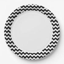 Black and White Zigzag Chevron Pattern Paper Plate