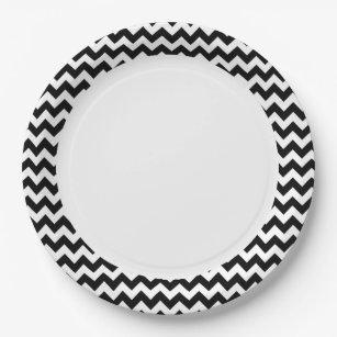 Black and White Zigzag Chevron Pattern Paper Plate  sc 1 st  Zazzle & Chevron Plates   Zazzle
