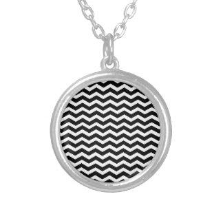 Black-And-White-Zigzag-Chevron-Pattern Round Pendant Necklace