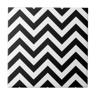 Black and white Zigzag Chevron Pattern Tile