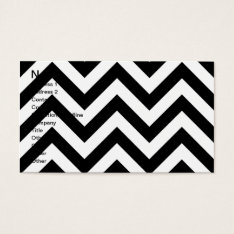 Black And White  Zigzag Chevrons Pattern Business Card at Zazzle