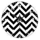 Black and white  Zigzag Chevrons Pattern Round Wallclocks