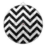 Black and white  Zigzag Chevrons Pattern Dart Board