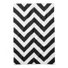 Black and white  Zigzag Chevrons Pattern Kitchen Towel