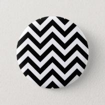 Black and white  Zigzag Chevrons Pattern Pinback Button