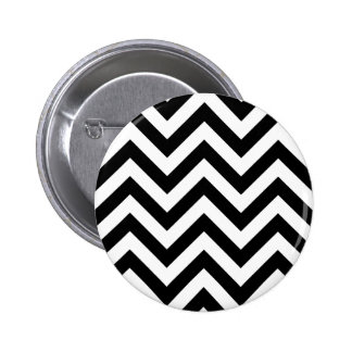 Black and white  Zigzag Chevrons Pattern Pinback Button