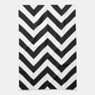 Black and white  Zigzag Chevrons Pattern Towel