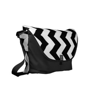 Black and White Zigzag Courier Bag