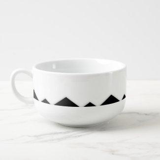 Black and White Zigzag Design Soup Mug