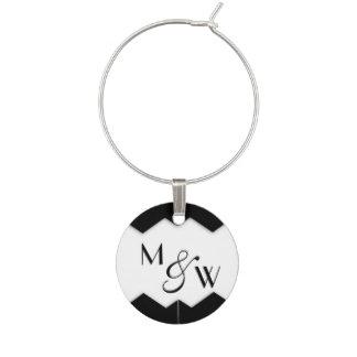 Black and White Zigzag Monogram Wine Tag Wine Charm