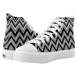 Black and White Zigzag Pattern High-Top Sneakers